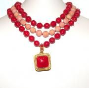 Chanel Stunning  Gripoix Coral & Angel Skin Three Row Necklace ,.