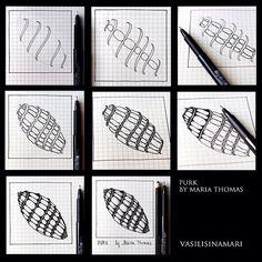 Purk- Step by Step Zentangle Pattern Zentangle Drawings, Doodles Zentangles, Doodle Drawings, Tangle Doodle, Zen Doodle, Doodle Art, Zantangle Art, Zen Art, Doodle Patterns