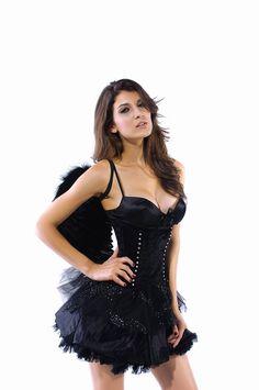 Adult Fallen Angel Costume Black Angel Party Dress Exotic Apparel Gothic Halloween Costumes for Women Fantasias Feminina R8488(China (Mainland))