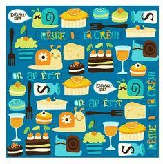 Bon Appetit in blue by Illustration Ink