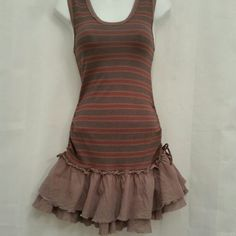 "2X HPFree People Strip Ruffle Knit Mini Dress  1/9 Best in Dress HP by @charming_mhel  10/21 Wardrobe Refresh HP by pehang Burgundy, taupe and mushroom brown knit striped dress. Featuring double tiered cotton ruffle detail at hemline, functional drawstring detail from waist to hip. Neckline and armhole is trimmed with contrasting knit rib.   100% cotton Machine washable  26"" bust* 24"" waist 30"" hips 110"" sweep 15"" skirt length 34"" overall length * all measurements were taken flat Free…"