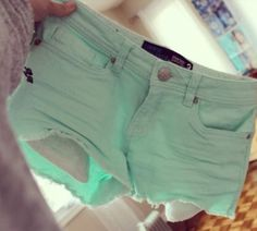 Mint shorts! Would be super cute with a black tee♡