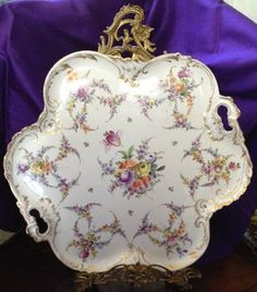 """Dresden Delight"" A large Dresden Floral Porcelain Tray. 