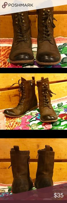 """Bernardo Brown Leather Lace Up & Side Zip Boots 9M BERNARDO Brown Soft, Supple Leather, Lace Up BOOTS! Women's Size 9 M. Wood Soles & 1 Inch Wood Heels. Nice Soft Leather Insoles. CONTRAST DARK Burnished Brown Front Toe Areas. Leather Loop pull-on Tabs at Upper Backs. They fit TTS.  Very Comfortable! 5 eyelet Lace up w/ 4 Brass hooks to the Top. Approx. 8"""" Zippers on the inner sides, easy to put on. Brass Bernardo Embossed Zipper Pulls. Height with heels: 8"""" Good Shape, some Scuffing at…"""