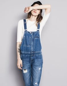 Pull&bear Long Denim Dungarees in Blue