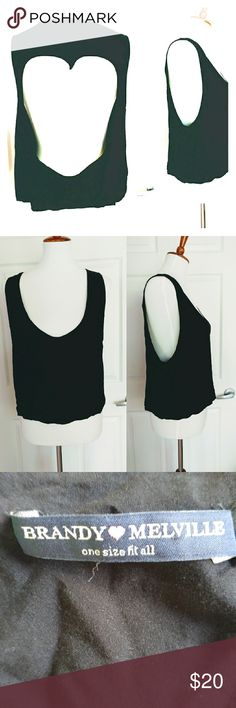 Brandy Melville Sleeveless Crop Top One Size Woman's Brandy Melville black sleeveless crop tank top with a back heart - shaped cut-out. First picture is of the back. One size fits most. Excellent pre-owned condition. Fast shipping - same or next day. Thanks!  Measurements:  Armpit to armpit: 20 inches Length: 21 inches Brandy Melville Tops Crop Tops