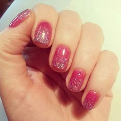 Gel Nails with glitter Gradient