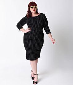 Unique Vintage Plus Size 1960s Style Black & White Dot Long Sleeve Mod…