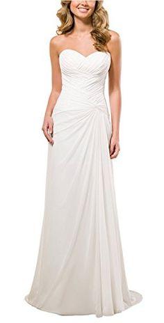 Vivebridal Women's A-Line Chiffon with Pleat Lace Up Beach Wedding Dress * MORE INFO @ http://www.eveningdressesoutlet.com/store/vivebridal-womens-a-line-chiffon-with-pleat-lace-up-beach-wedding-dress/?a=4365