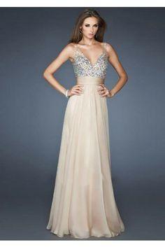V-neck A-line Beadings Bustband Chiffon Zipper back Prom Dresses £97.99