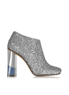 L'Autre Chose Glitter Leather Low Boot w/Aviator & Silver Heel