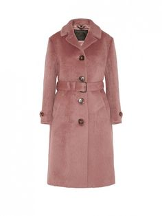 Burberry Prorsum Brushed Wool Coat in Pink