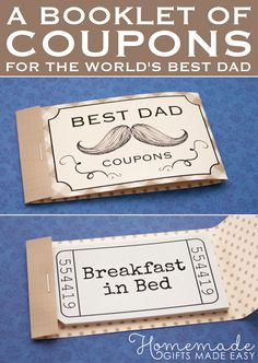 Coupons For Dad Homemade Christmas Gifts Ideas Presents
