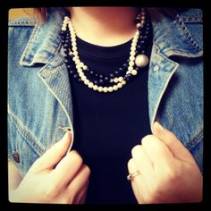 Black and White and silver twisted beads with Denim