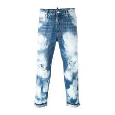 DSQUARED2 'Glamhead' Highly Bleached Jeans ($386) ❤ liked on Polyvore featuring men's fashion, men's clothing, men's jeans, black, mens cropped jeans, mens button fly jeans, mens ripped jeans, mens distressed jeans and mens torn jeans