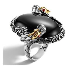 John Hardy Batu Naga Gold & Silver Double Dragon Oval Chalcedony Ring (9 345 SEK) ❤ liked on Polyvore featuring jewelry, rings, silver circle ring, african jewelry, black ring, black silver ring and silver jewelry