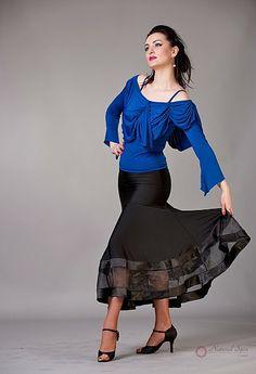 Natural Spin Signature Dance Tops(Long Sleeve):  LTL22_BLUE