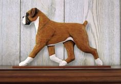Boxer Uncropped Dog Figurine Sign Plaque Display Wall Decoration Fawn