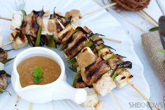 Chicken and tofu skewers with peanut sauce #EZTofuPress
