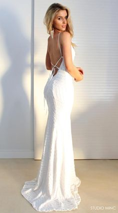 2018 Newest Sequin Lace up Gorgeous stunning white gown, modern and crisp and polished look Prom Dress, PD0436