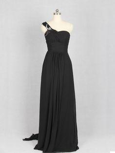 cheap black one shoulder chiffon long prom dress   Cheap prom dresses Sale