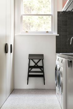 est living australian interiors cjh design rosebery home 19 laundry room with black step stool Laundry Room Shelves, Laundry Room Design, Rose House, Timber Table, Melbourne House, Inviting Home, Terrazzo Flooring, Scandinavian Design, Home And Family
