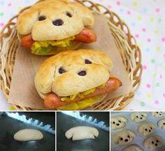 Welpen-Brötchen für Hot Dogs (mit Oliven)