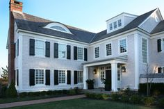 CURB APPEAL – another great example of beautiful design. Front Elevation with a traditional exterior near philadelphia by Asher Associates Architects.