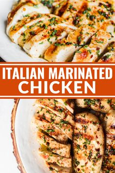 Italian Marinated Chicken is an easy and super flavorful entree the whole family will love. Italian Marinated Chicken is an easy and super flavorful entree the whole family will love. It's also gluten free, sugar free, and dairy free! Italian Marinade For Chicken, Italian Marinated Chicken, Marinated Chicken Recipes, Italian Chicken Recipes, Easy Chicken Recipes, Italian Chicken Breast, Recipe For Chicken, Italian Dressing Chicken Marinade, Wedding Chicken Recipe