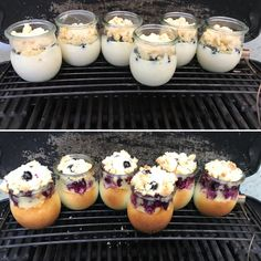 Grilled cheese cakes - The perfect dessert from the grill: delicious blueberry cheese cakes in a glass – from gut-esser. Mini Desserts, Delicious Desserts, Plancha Grill, Grill Dessert, Dessert Illustration, Blueberry Cheesecake, Mini Cheesecakes, Pastry Recipes, Pudding Recipes