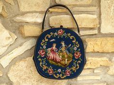 Needlepoint Floral Purse Extra Large, Vintage Blue Needlepoint & Petit Point…