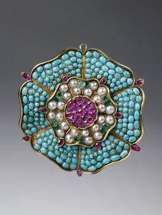 Brooch | V&A Search the Collections English Brooch with turquoise, rubies, emeralds and pearls c. 1835