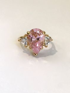 Vintage Gold Vermeil Pink Sapphire 3 Stone Ring Estate Ring Pink Stone Ring Pear Ring Multi Stone Engagement Ring Right Hand Ring Pink Ring Art Deco Jewelry, Fine Jewelry, Pink Stone Rings, Pear Ring, Estate Rings, Right Hand Rings, Pink Sapphire, Stone Pendants, Engagement Ring