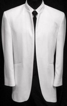 Mens-White-Mirage-DJ-Dinner-Jacket-Mandarin-Collar-Nehru-Tuxedo-Coat-Beatles