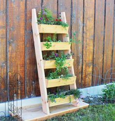 DIY Projects - FREE PLANS and Tutorial to Build a Do It Yourself Cedar Vertical Tiered Ladder Garden Planter via Ana White