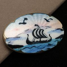 Norway Picture Pin Vintage Sterling Silver & Enamel Ivar Holt from eccentricitycharm on Ruby Lane