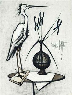 Bernard Buffet - La cigogne; Creation Date: 1961; Medium: oil on canvas; Dimensions: 45.62 X 35 in (115.87 X 88.9 cm)