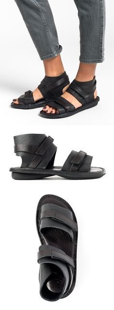 $325.00 | Trippen Rom Sandal in Black | Santa Fe Dry Goods & Workshop | Trippen shoes are exception in design, style, and commitment to environmentally conscious production. Made from vegetable tanned leather and rubber soles for comfort. The black leahter sandal is perfect for a casual spring and summer. Sold online and in-store in Workshop in Santa Fe, New Mexico.
