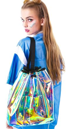 clear backpack cute bag for girl Holographic Fashion, Transparent Bag, Unif, Womens Fashion, Fashion Trends, Bucket Bag, Girly, Textiles, Street Style
