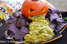 Guacamole Pumpkin   Chips and Dip Idea from Amee's Savory Dish   Halloween Food