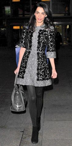 21 Chic Celebrity Looks That Have Us Saying Yes to Tights | InStyle.com Amal Clooney landed at Heathrow Airport in style, thanks to her elegant gray-and-black floral embroidered Dolce & Gabbana frock that she impeccably paired with black opaque tights, a dark gray carryall and suede ankle boots.