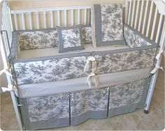 Black Central Park Toile Baby Crib Bedding Set Includes Per Pad Skirt
