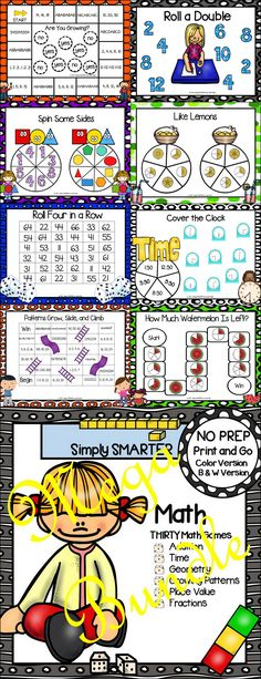 Are you looking for NO PREP math games for kindergarten, first, or second grade? Then enjoy this math resource which is comprised of THIRTY different MATH games complete with a color version and black and white version of each game. The games can be used for small group work, partner collaboration, or homework! ALL YOU NEED TO DO IS DOWNLOAD THE GAMES AND PROVIDE MATERIALS SUCH AS DICE, GAME MARKERS, UNIFIX CUBES, JUDY CLOCK, BASE TEN BLOCKS, CLIP, AND PENCIL.