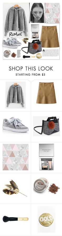 """Romwe.Faux Fur Fluffy Hoodie"" by natalyapril1976 ❤ liked on Polyvore featuring Puma, Graham & Brown, Burberry, Bobbi Brown Cosmetics and Urban Outfitters"