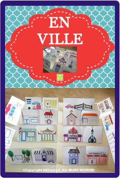 $ En Ville - a pack of French resources to help you teach vocabulary related to places in the city, asking for and giving directions, etc. It includes word wall cards, sentence builders and more!