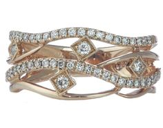 14k rose gold 4-row pave and beadset diamond ring.