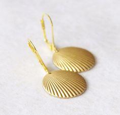 Clamshell Earrings Gold Shell Bridal Earrings Vintage Blue and Gold Seashell Earrings * Seashell Jewelry * Nautical Jewelry Beach Wedding by SmittenKittenKendall on Etsy