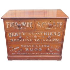 Victorian Mahogany Sign Painted Chest of Drawers Fred Wade Gentleman's Outfitter
