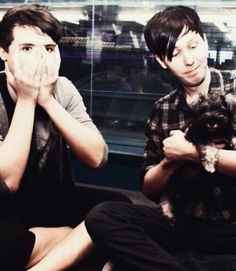 Dan Howell and Phil Lester with cute puppy. I can't even!<--- I think you had the same reaction as Dan