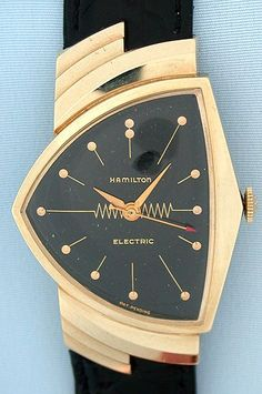 """Talk about Mid-Century Modern! Most amazing watch design ever. Hamilton Ventura, 1950s. First """"electric"""" (battery-operated) watch. #menswatchesvintage"""